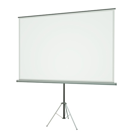 slideshow: Blank portable conference projection screen over white background. 3D rendered image