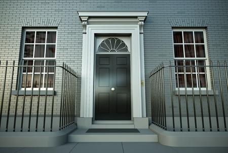 British house. 3D render. photo