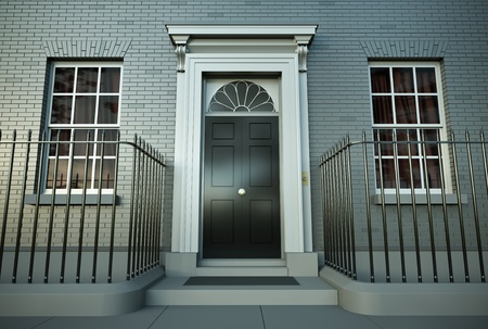 British house. 3D render. photo