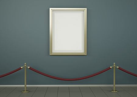 masterpiece: Blank picture with gold frame in a gallery. 3D rendered image. Stock Photo