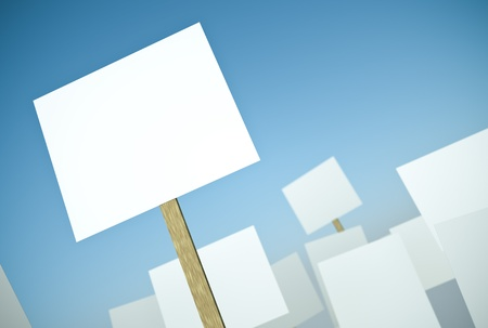 unrest: Blank protest banners against blue sky. 3D render.