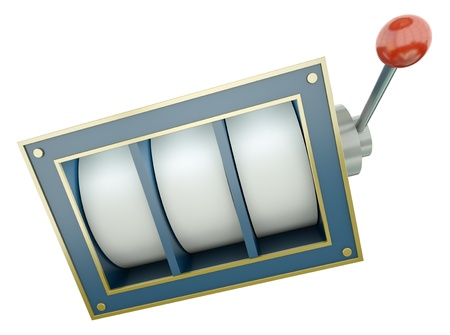 fluke: Fruit machine with blank reels over white background. 3D render. Stock Photo