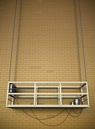 hanging up: Construction elevator at a brick wall. 3D render.