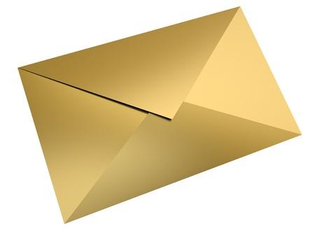 sobres para carta: Envolvente de oro sobre fondo blanco. Procesamiento 3D. Foto de archivo