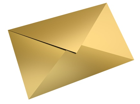 Gold envelope over white background. 3D render. Stock Photo - 9208082