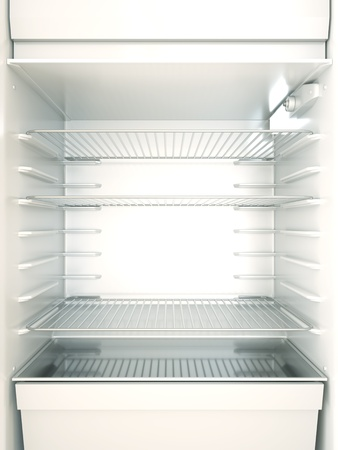 Empty fridge interior. 3D render.