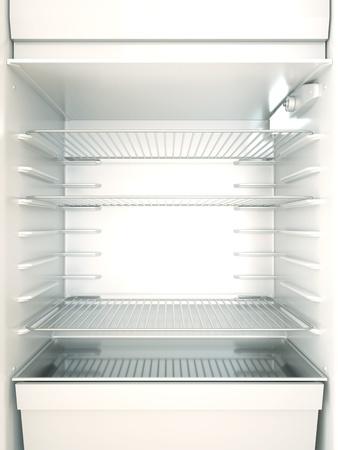 frigo: Lege koelkast interieur. 3D render.