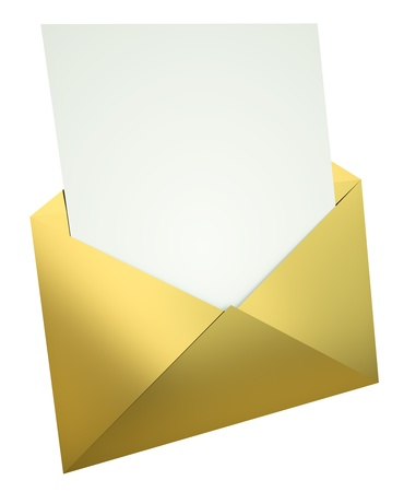 Open gold envelope with blank letter. 3D render.  Stock Photo - 9479695