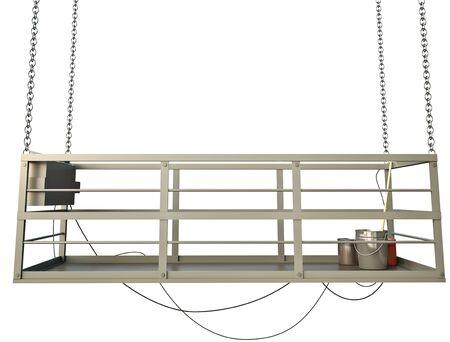 suspend: Construction elevator against white background. 3D render. Stock Photo