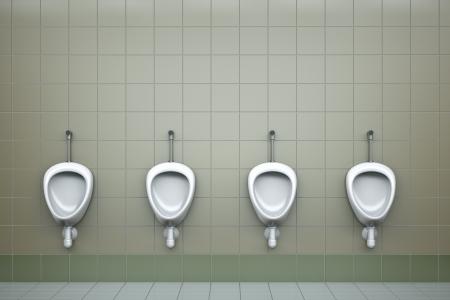 meados: Fila de cuatro urinarios. 3D procesado la imagen Foto de archivo