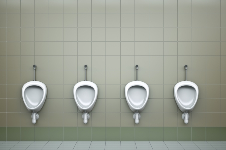 public toilet: Row of four urinals. 3D rendered image Stock Photo