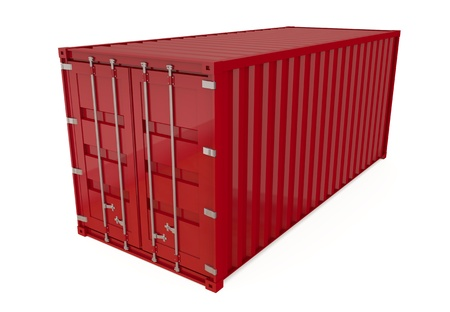 Red shipping container isolated on white