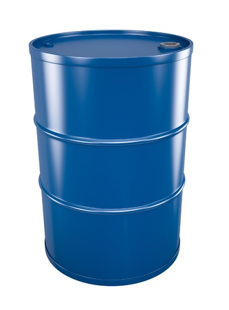gas can: Blue oil barrel Stock Photo