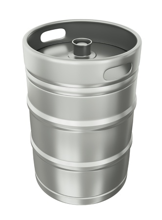 Beer keg over white background.