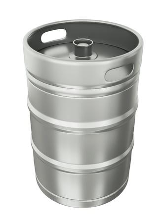 Biervat over witte achtergrond. Stockfoto