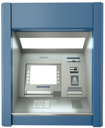 ATM machine with blank screen. 3D render. Фото со стока