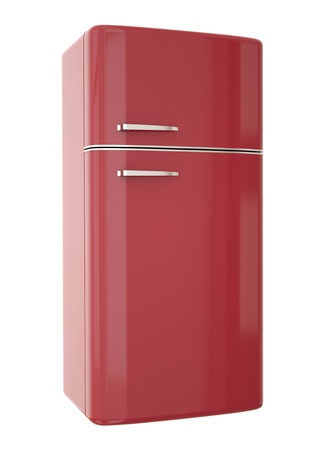 Red refrigerator. 3D render. photo