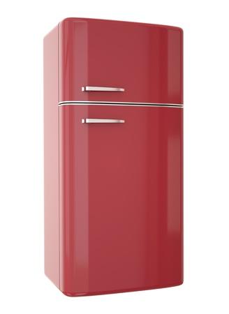 refrigerator: Red refrigerator. 3D render.