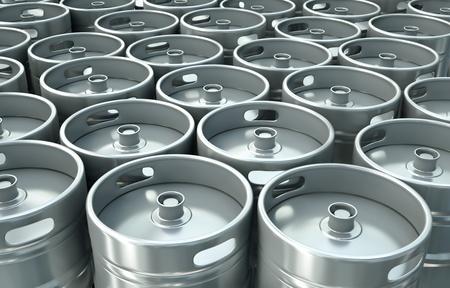 Beer kegs background. 3D render