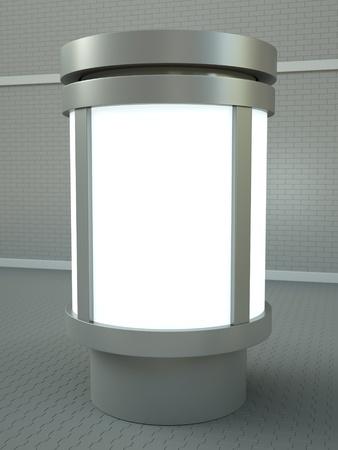 affichage publicitaire: Citylight pilier de publicit�. Rendu 3D.