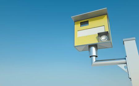 Traffic speed camera against blue sky photo