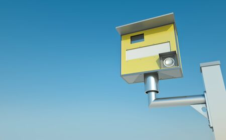 traffic ticket: Traffic speed camera against blue sky Stock Photo