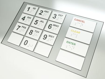 braille: Teclado de ATM. Procesamiento 3D. Foto de archivo