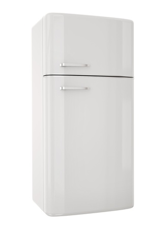 domestic kitchen: White refrigerator.3D render