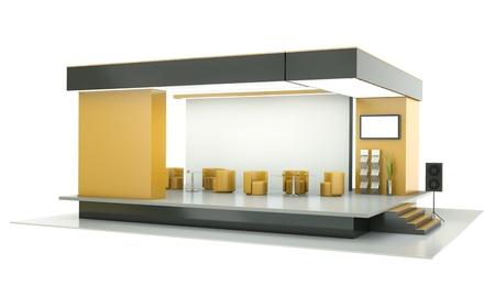 Empty exhibition stand. 3D render. photo