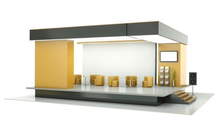 display stand: Empty exhibition stand. 3D render.