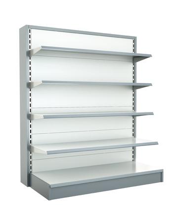 Empty shop shelf. 3D render.