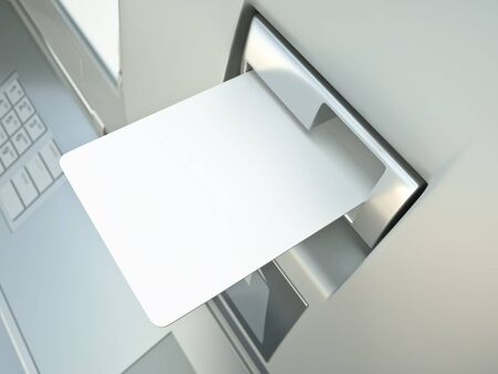 Blank card in a cashpoint slot, placeholder for credit card design. 3D render.