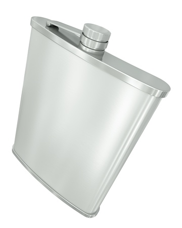Hip flask isolated on white background. 3D render. Stock Photo - 9703786