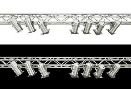 fari da palco: Faretti fase isolati su sfondo bianco e nero. Rendering 3D. Archivio Fotografico