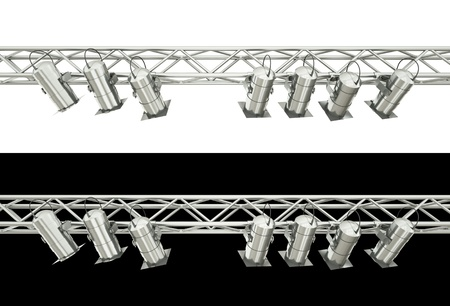 scaffold: Stage spotlights isolated over white and black background. 3D render.