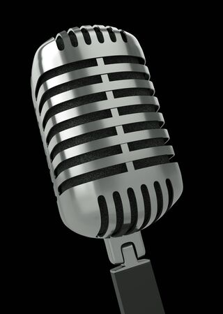 Classic microphone against a black background. 3D render. photo