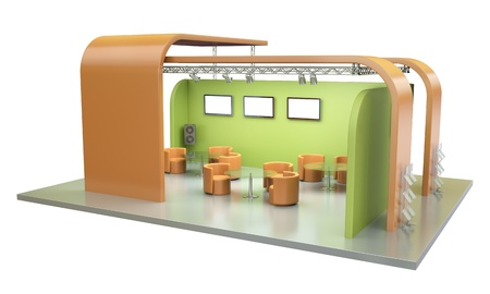 exhibition display: Empty trade event stand. 3D render. Stock Photo