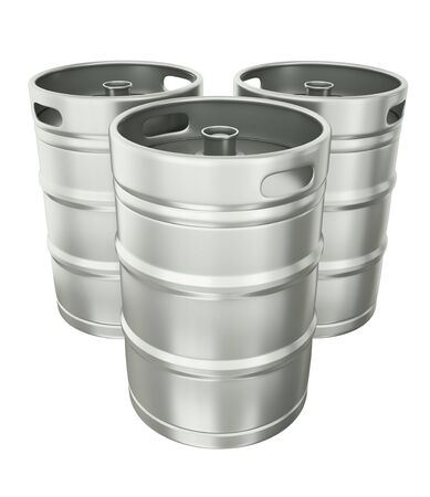 brewery: Tthree beer kegs over white background. 3d render