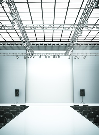 fashion catwalk: Empty fashion show stage with runway. 3D rendered image.