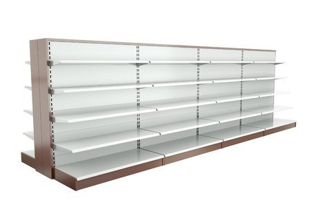fixtures: Row of supermarket shelves. 3D render.