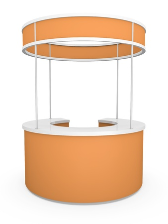Orange tradeshow stand. 3D render.