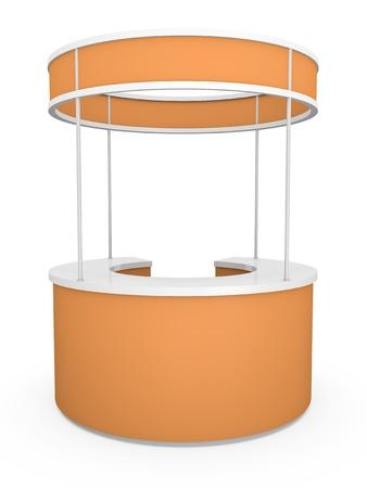 kiosk: Orange tradeshow stand. 3D render.