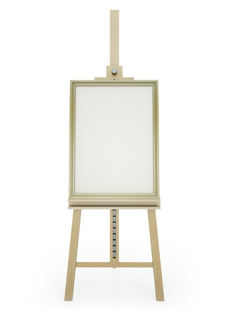 Wooden easel with blank framed picture on white background. 3D render. photo