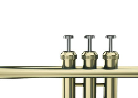 Trumpet keys on white background. 3D render. Imagens