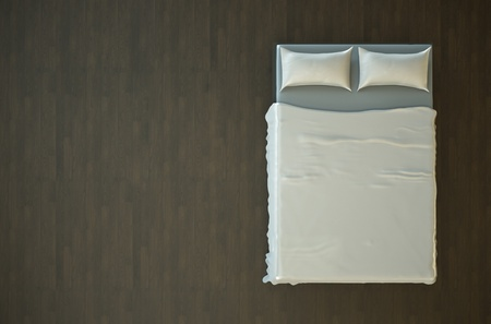 bed sheet: Top view of an empty bed with white bedding. 3D render.