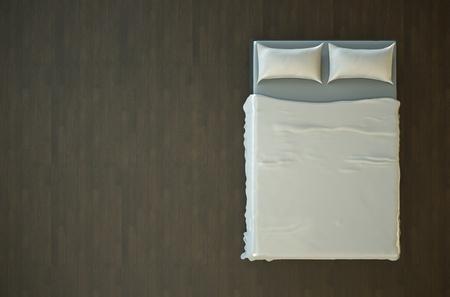 cama: Vista superior de una cama vac�a con ropa de cama blanca. Render 3D. Foto de archivo