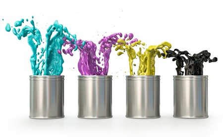 Cans with CMYK paints splashing out. 3D render. photo