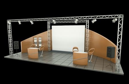 commercial event: Tradeshow stand over black background.  Stock Photo