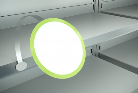 attached: Advertising wobbler attached to a shelf. 3D render.