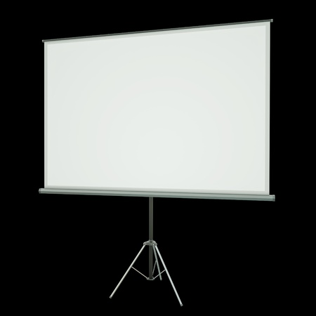 slideshow: Blank projection screen over black background. 3D rendered image Stock Photo